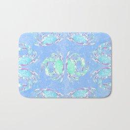 Watercolor blue crab Bath Mat