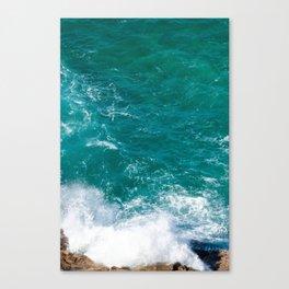 Emerald Waves Crashing against Rocks, Ocean Photography Canvas Print