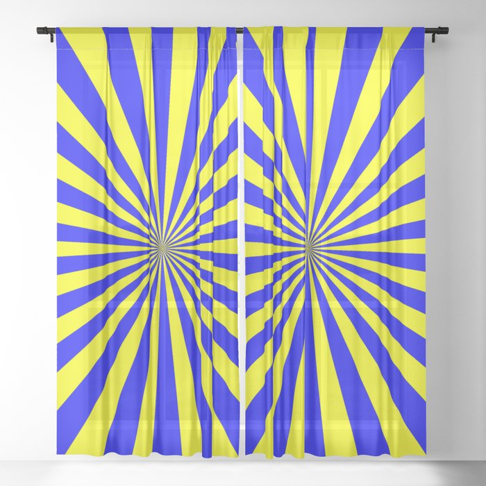 Starburst (Blue & Yellow Pattern) Sheer Curtain