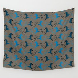 Blue Brown War Horse Wall Tapestry