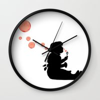 banksy Wall Clocks featuring Banksy Bubbles by DomaDART