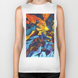 Harsh Mistress. Blue, Yellow and Orange Abstract. Biker Tank