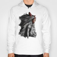 mononoke Hoodies featuring Miyazaki's Mononoke Hime Digital Painting the Wolf Princess Warrior Color Variation by Barrett Biggers