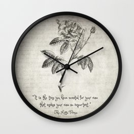 The Little Prince Rose Quote Wall Clock