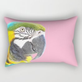 Macaw Portrait Pink Background Rectangular Pillow