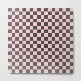 Gingham Millennial Pink Blush Rose Quartz Coco Brown Neapolitan Checked Metal Print