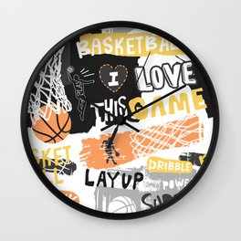 Basketball grunge Print Wall Clock