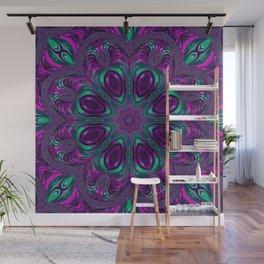 Jewel Tone Fractal Spiral Kaleidoscope Wall Mural