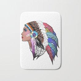Native American woman,Indian American design Bath Mat
