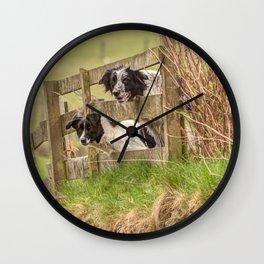 Countryside farm sheep dogs Wall Clock