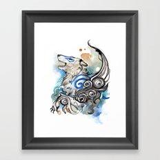 Blue Okami Amaterasu Framed Art Print