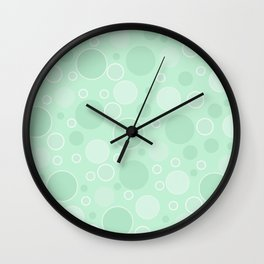 Light green polka dots Wall Clock
