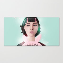 South Korean Girl With Hair Rollers and Bunny Ear Fan Portrait for K-Pop Lovers Canvas Print