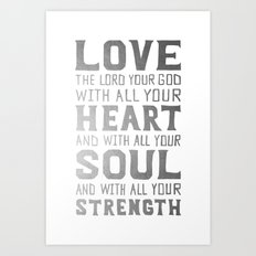 (White/Silver) Heart Soul Strength Art Print