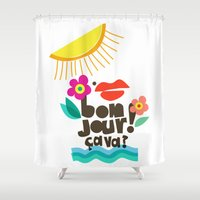 bonjour Shower Curtains featuring Bonjour! by Daily Thoughts