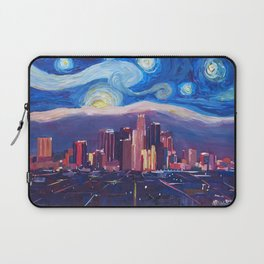 Starry Night in Los Angeles - Van Gogh Inspirations with Skyline and Mountains Laptop Sleeve