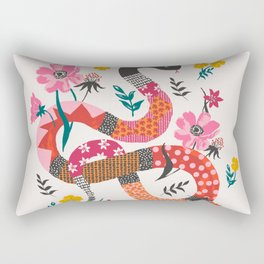 Patchwork snake with flowers Rectangular Pillow