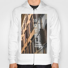 Hotel California // A Modern Artsy Style Graphic Photography of Neon Sign in Europe on Buildings Hoody