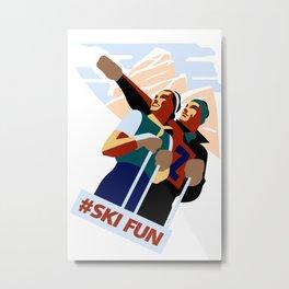 Hashtag ski fun Metal Print