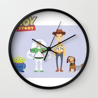 toy story Wall Clocks featuring Toy Story by YoongSin