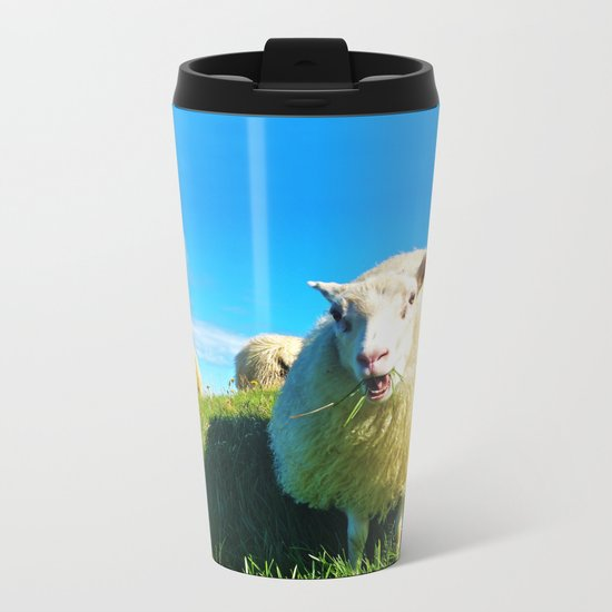 Sheeps in Iceland with Green Field Metal Travel Mug