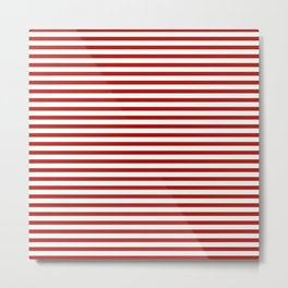 Red & White Maritime Small Stripes- Mix & Match with Simplicity of Life Metal Print
