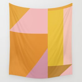Shapes in Vintage Modern Pink, Orange, Yellow, and Lavender Wall Tapestry