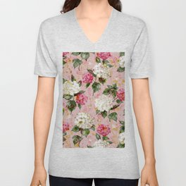 Vintage green pink white bohemian hortensia flowers Unisex V-Neck