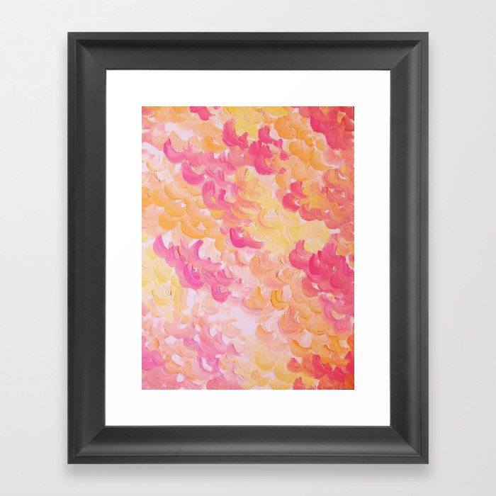 PINK PLUMES - Soft Pastel Wispy Pretty Peach Melon Clouds Strawberry Pink Abstract Acrylic Painting  Framed Art Print