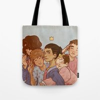 cargline Tote Bags featuring kiss kiss fall in love by cargline