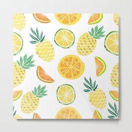 Fresh tropical fruits. Pineapple, orange, lime, grapefruit. Metal Print