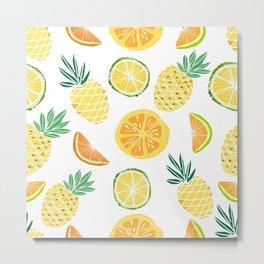 Fresh tropical fruits. Pineapple, orange, lime, grapefruit. Metal Print