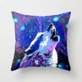 WOLF MOON AND SHOOTING STARS Throw Pillow