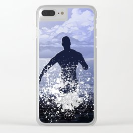 Jump into the ocean at night Clear iPhone Case