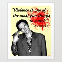 tarantino Art Prints featuring Tarantino by Ryan Bauer/Gawk