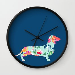 Colorful Teckel dog Wall Clock