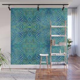 Batik Blue Green Teal Wall Mural