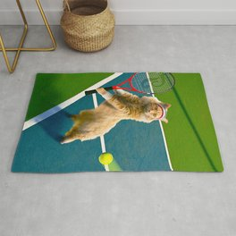 Maine Coon Cat Playing Tennis Rug