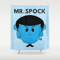 spock Shower Curtains featuring MR. SPOCK by minuitsurmars