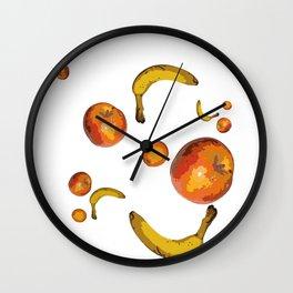 Vegan Life Banana Apple Orange Fruits Healthy Wall Clock