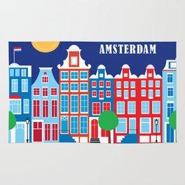 Amsterdam, Netherlands - Skyline Illustration by Loose Petals Rug