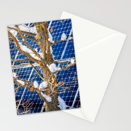 Four Seasons Photosynthesis - Winter. Oak Tree, Snow, And A Solar Power Panel Stationery Cards