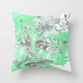 Light green and gray Marble texture acrylic paint art Throw Pillow