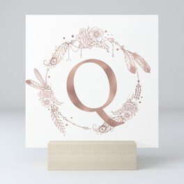Letter Q Rose Gold Pink Initial Monogram Mini Art Print