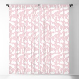 Rabbit Pattern | Rabbit Silhouettes | Bunny Rabbits | Bunnies | Hares | Pink and White | Blackout Curtain