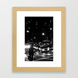 manhattan at night Framed Art Print