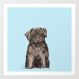 Louise adore les carlins Art Print
