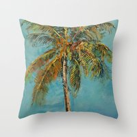 palm tree Throw Pillows featuring Palm Tree by Michael Creese
