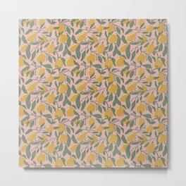 Lemon Tree Pattern   Pink Background   Lemon & Leaf Seamless Pattern Metal Print