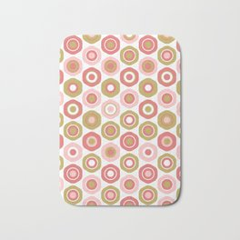 Buttons. Cute Geometric Pattern in Dark Mustard Yellow, Coral Pink and White Bath Mat